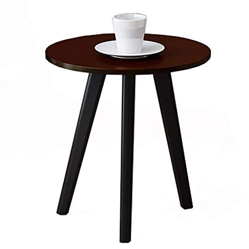 AOIWE - Mesa de centro de madera maciza, mesa de centro redonda americana, mesas auxiliares, para salón, dormitorio, balcón, 4 colores (color: A)