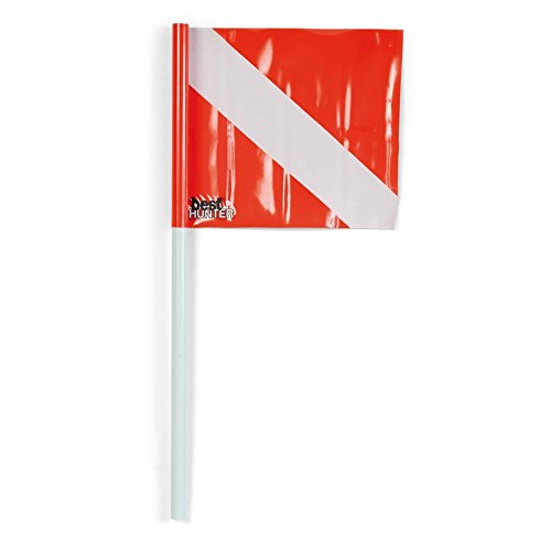 Best Divers BH093/FL Sub vlag met stang, 50 cm, wit/rood