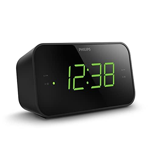 Philips Despertador Radio con Pantalla para la Cabecera, Radio Digital con Doble Alarma, Temporizador para Dormir y Función de Repetición, Batería Portátil, Negro con Pantalla