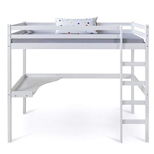 Lit mezzanine avec bureau pour enfant 90x200 cm blanc bois de pin