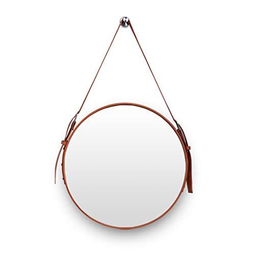 Wandspiegel, rond, spiegel om op te hangen, van kunstleer, in lengte verstelbaar, modern, decoratieve spiegel voor het ophangen van meubels, wastafel voor slaapkamer, badkamer en woonkamer, zwart, oranje
