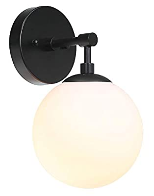 Wall Light 1 Light Vintage Wall Sconce with White Globe Glass, Bathroom Vanity Lighting Suitable for Living Room & Hallway XiNBEi-Lighting