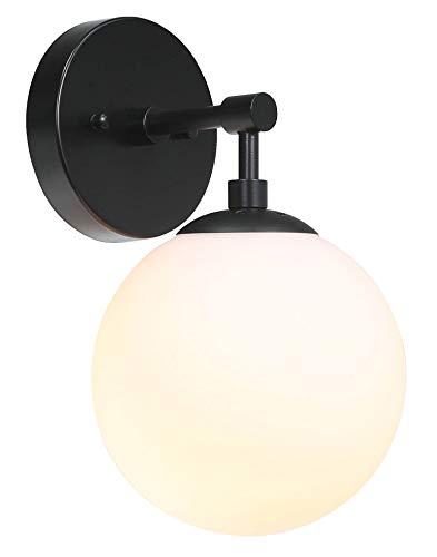 XiNBEi Wandlamp 1 Licht Vintage Wandkandelaar met Wit Bolglas, Up/Down Badkamer Wandlamp in Mat Zwart voor Woonkamer & Keuken XB-W121-MBK