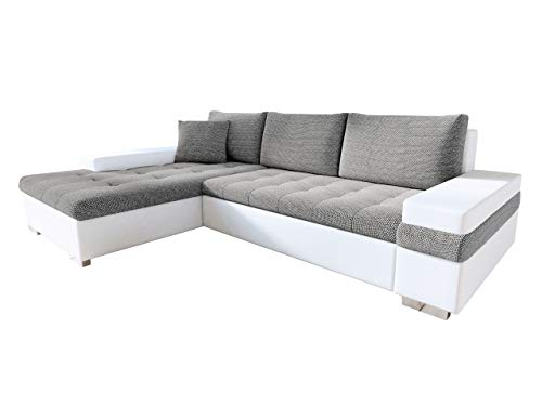 Mirjan24 Design Ecksofa Bangkok Mini, Moderne Eckcouch mit Schlaffunktion und Bettkasten, schwerentflammbar Stoff, Ecksofa für Wohnzimmer Gästezimmer Couch L-Form Wohnlandschaft (Soft 017 + Lawa 05)