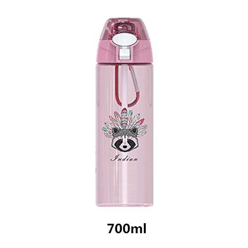 Wgath Waterfles Draagbare Shaker-Fles Met Rietje Sport Camping Wandelen Kinderen Kid Waterfles Met Deksel Plastic Beker