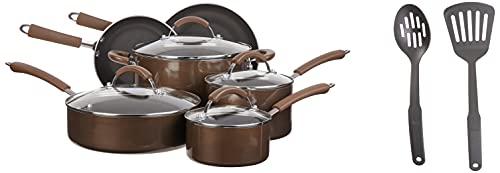Farberware MillenColors - Batería de cocina antiadherente de aluminio, Antiadherente de Bronce, Bronce, 12 piezas, 1