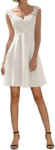 Damen V-Ausschnitt Hochzeitskleid Brautkleider A Line Elegant Appliques Abschlusskleid Brautjungfer Hochzeit(Weiß 01,32)