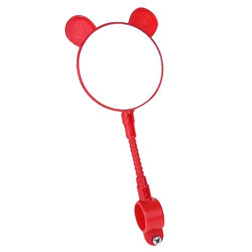 hoxin - Specchietto retrovisore per bicicletta per bambini, con manubrio di sicurezza, accessorio universale (1 pezzo), Rot