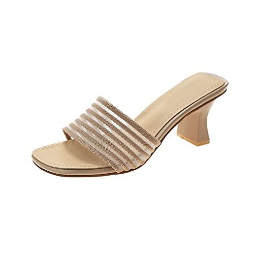 DIWA Zapatillas de Ducha de tacón Altas, Sandalias de talón Gruesas de Verano para Damas/Mujeres, Zapatillas Antideslizantes de Punta Abierta, Altura del talón 6cm / 2.36in
