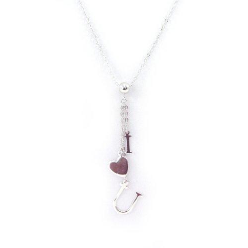 Les Trésors De Lily [G2774] - Halskette silber 'I Love U' .