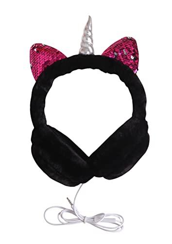 Trendy Tap Warm Hello Kitty Earmuffs Headphones Rabbit Ears for Girls Ear Muff Music Wired Earphones for Winters (Pink)
