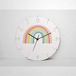 Kids Wooden Wall Clock Rainbow Round Clock Silent Non Ticking 12 Battery Operated Nursery Decor Home Office School Clock