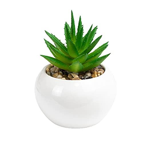 PINBinyee Plantas artificiales para interiores en macetas, plantas artificiales de PVC natural, realistas, frescos, decoración de mesa, suculentas artificiales bonsái para escritorio - 1