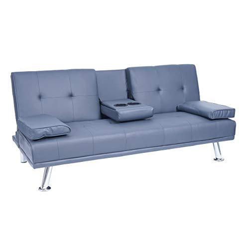 Mendler 3er-Sofa HWC-F60, Couch Schlafsofa Gästebett, Tassenhalter verstellbar 97x166cm ~ Kunstleder, dunkelblau