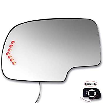 SCITOO Compatible fit for Exterior Mirror Replacement Glasses Driver Left Side Power Heated Signal 2003-2007 for Chevy Silverado Suburban for GMC Sierra Yukon Replacement Tow Mirror
