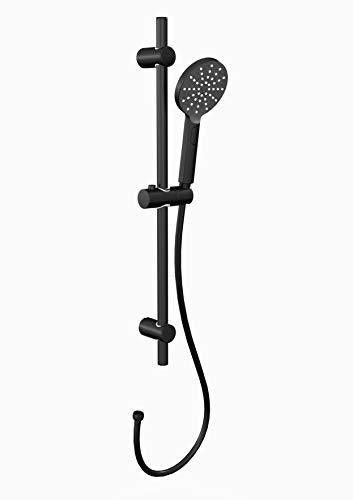 MARWELL Black Rainstar 3 Strahlarten mit easy switch per Klick wechselbar Handbrause-Set, Matt Schwarz