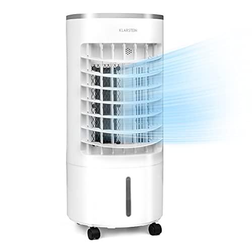 KLARSTEIN Skypillar - Raffreddatore Evaporativo 3in1, Raffrescatore Ventilatore Umidificatore, Flusso: 228 m³ h, Serbatoio sul Lato superiore: 5 L, Oscillazione, 3 Velocità, 65 Watt, Bianco