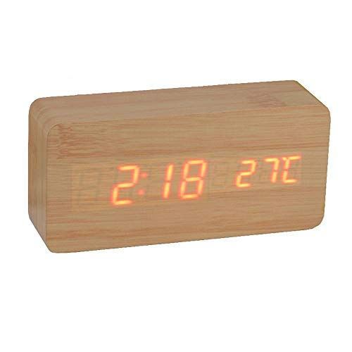 Relógio Despertador Mesa Digital Tipo Madeira Com Sound Control 1299