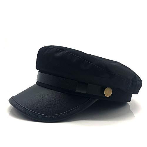 Bin Zhang 2019 Hombres Mujeres Gorra de Boina de Cuero Rojo Negro Plano Azul Marino Sombrero Moda Street Style Sombrero Gorra de periódico Baker Boy Hat (Color : Negro, tamaño : 56-58CM)