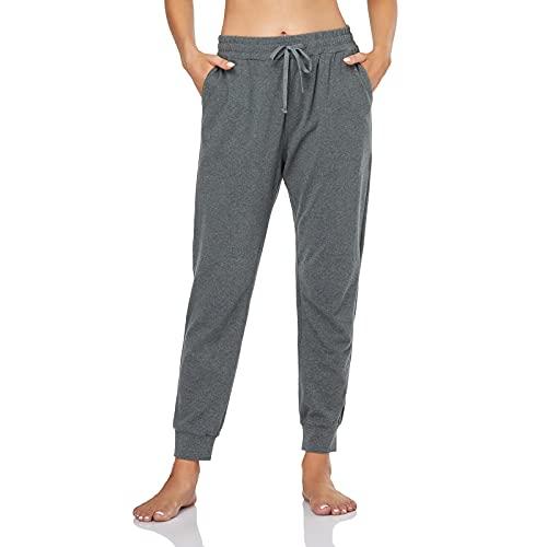GIMDUMASA Jogginghose Damen Slim Fit Baumwolle Sporthose Freizeithose mit Streifen Traininghose Sweathosen mit Seitentaschen für Jogging Laufen Fitness GI06(Dunkelgrau, xs)