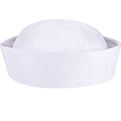 SATINIOR Sombreros de Marinero Banco Sombreros de Capitán Azul Marino Sombrero de Yate para Disfraz de Adolescentes y Adultos