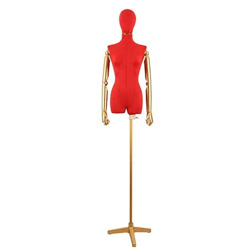 HXCD Torso de Cuerpo de maniquí de Forma Femenina de Altura Ajustable con Brazo de plástico y Base de Metal para Vestidos de Novia/Camisetas (Color: Rojo)