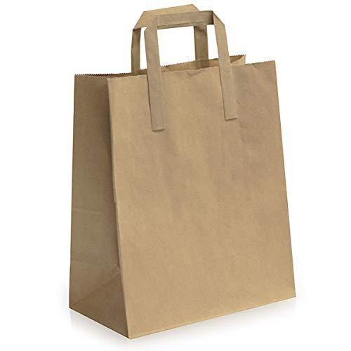 MARENT 18 x 22 x 7.5 centimetres Paper Carrier Bags with Flat Handles, Pack of 50, Brown Small