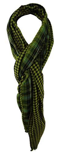 TigerTie sjaal in groen turquoise zwart zilver patroon met kleine franjes - maat 200 x 50 cm.