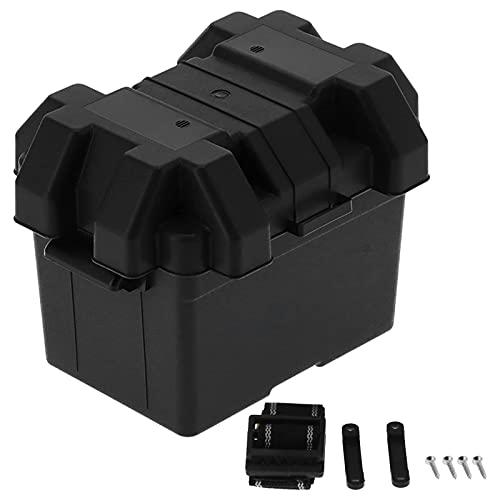 Ankon Accesorios de embarcaciones Caja de batería, Tenedor de Almacenamiento de Caja de batería Multifuncional Capacidad Grande con Correa Universal para camión de automóviles RV