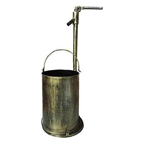 NYKK Cubo de Basura Retro Metal Grifo de la Papelera Redonda Bote de Basura de la Basura Jardín Decorativo al Aire Libre Pueden Hecho a Mano (Bronce) Residuos Contenedores (Color : B)