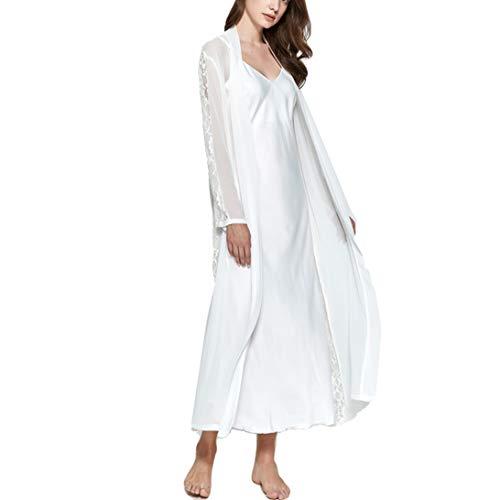 Gaga city Morgenmantel und Nachthemd Weiß Vintage, Satin Nachthemd Spaghettiträger mit Bademantel Transparent 2-teiliges Set Elegantes Schlafkleid Lang