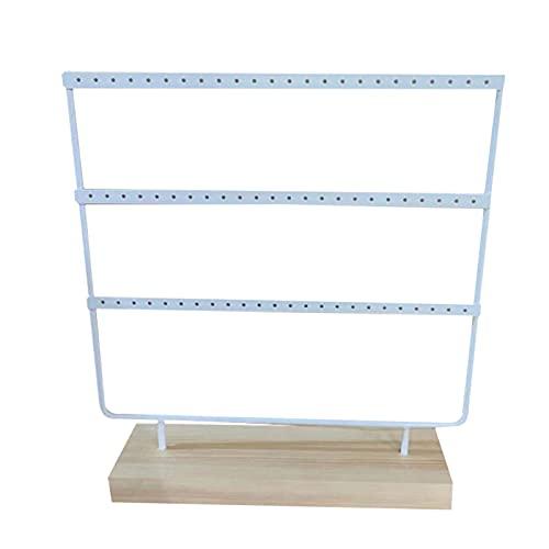 Zhandou Wood Jewelry - Soporte de almacenamiento de 69 agujeros de hierro forjado, soporte de 3 niveles para pendientes