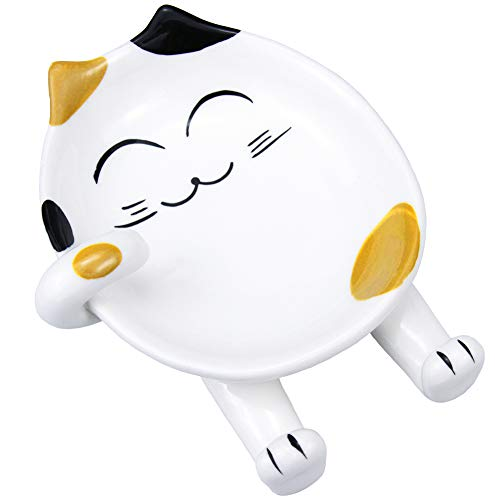 Cat Spoon Rest for Kitchen,Multifunction Ceramic Spoon Rest for Kitchen Counter,Cooking Utensil Holder Stove cover Lid Holder for Stove Modern Spatula Utensil Rest,Cute Spoon Rest