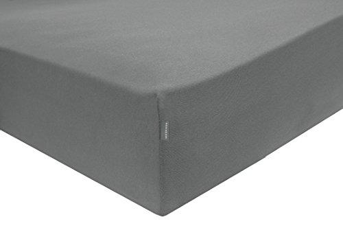 Schiesser Spannbettlaken, 100% Baumwolle, Anthrazit, 180 x 200 cm