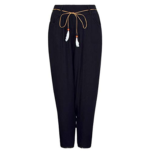 Eight2Nine Damen leichte Sommer-Viskose Hose mit Gürtel Freizeithose, Black, L