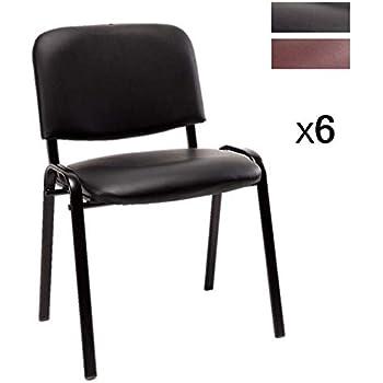 Notek Srl Set di 6 sedie per Sala Attesa Imbottite impilabili in Eco Pelle Ufficio Studio Riunione Sala conferenza (Nero)