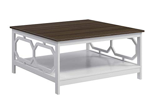 Convenience Concepts Omega Square 36' Coffee Table, Driftwood Top / White Frame