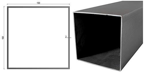 Edelstahl Quadratrohr/Rechteckrohr/Kastenprofil in vielen Abmessungen von 10cm bis 6m am Stück Profilabmessung: 100 mm x 100 mm x 2 mm Länge: 0500 mm
