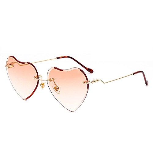 xuexue Occhiali da Sole Moda Frameless Amore personalità Cuore Occhiali da Sole Colorati Marini Retro Parasole Occhiali,07