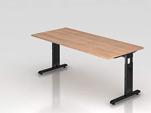 Schreibtisch C Fuß 180x80cm Nussbaum Schw Bürotisch EDV Tisch