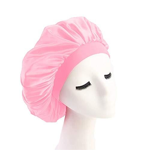 シャワーキャップ 58cm調整ソリッドサテンボンネットヘアスタイリングキャップロングヘアケア女性ナイトスリープ帽子シルクヘッドラップシャワーキャップヘアスタイリングツール (Color : Pink)