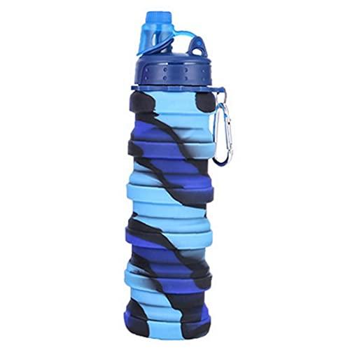 MICHAELA BLAKE Botella de Agua Plegable Botella de Silicona Plegable Botella de Deportes a Prueba de Fugas para el Recorrido Camping 500 ml de Camuflaje style2