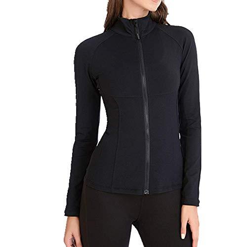 U/A - Abrigo deportivo de manga larga para yoga con cremallera para mujer Negro Negro ( M