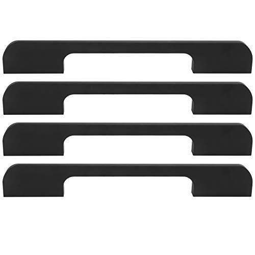 Aleación de aluminio 4 juegos Tirador de puerta Herrajes Herrajes Piezas de muebles Manija de armario para(American drawer handle 128 aperture black)