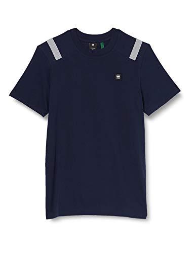 G-STAR RAW Shoulder Tape Reflective Logo+ T-Shirt, Sartho Blue 336-6067, M Uomo