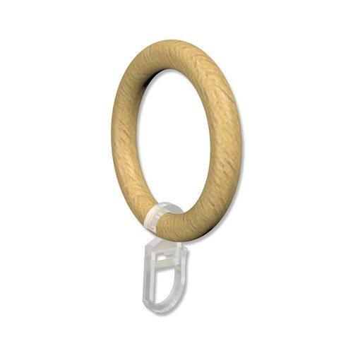 INTERDECO Gardinenstangen Holz Ringe mit Faltenhaken/Gardinenringe in Buche für 28 mm Ø (10 Stück)