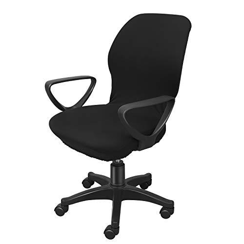 IMIKEYA Funda protectora para silla de oficina de ordenador, silla giratoria, elástica, para comedor, salón y oficina, color negro