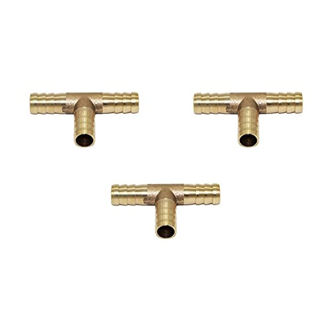 Joyway 3Pcs 3/8 ID Hose Barb, Tee 3 way Union Fitting Intersection/Split Brass Water/Fuel/Air