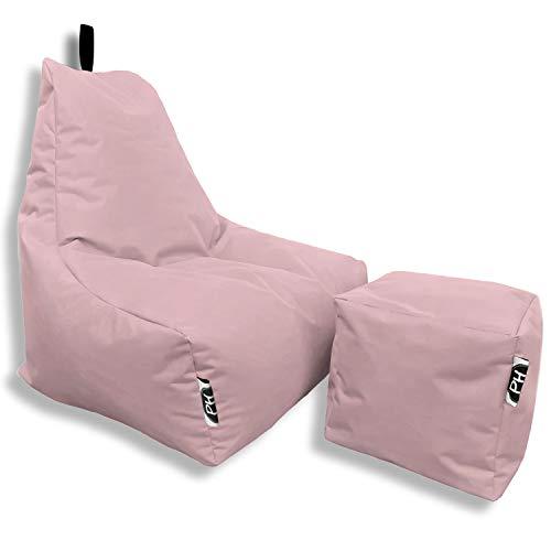 Patchhome Sitzsack Lounge Sessel + Würfel/Hocker XXL mit Reißverschluss nachfüllbar Gamer Sitzkissen Sitzsäcke Gaming, fertig mit Styropor Füllung befüllt In & Outdoor geeignet in 2 Größen Rosa