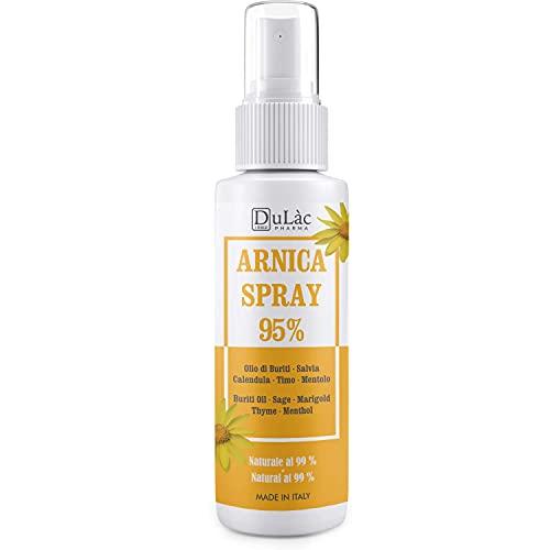 Arnica Spray 95%, 100 ml, Calmante con Arnica Montana, aceite de Buriti, extractos de Salvia y Caléndula, aceite esencial de Tomillo y Mentol, Natural 99%
